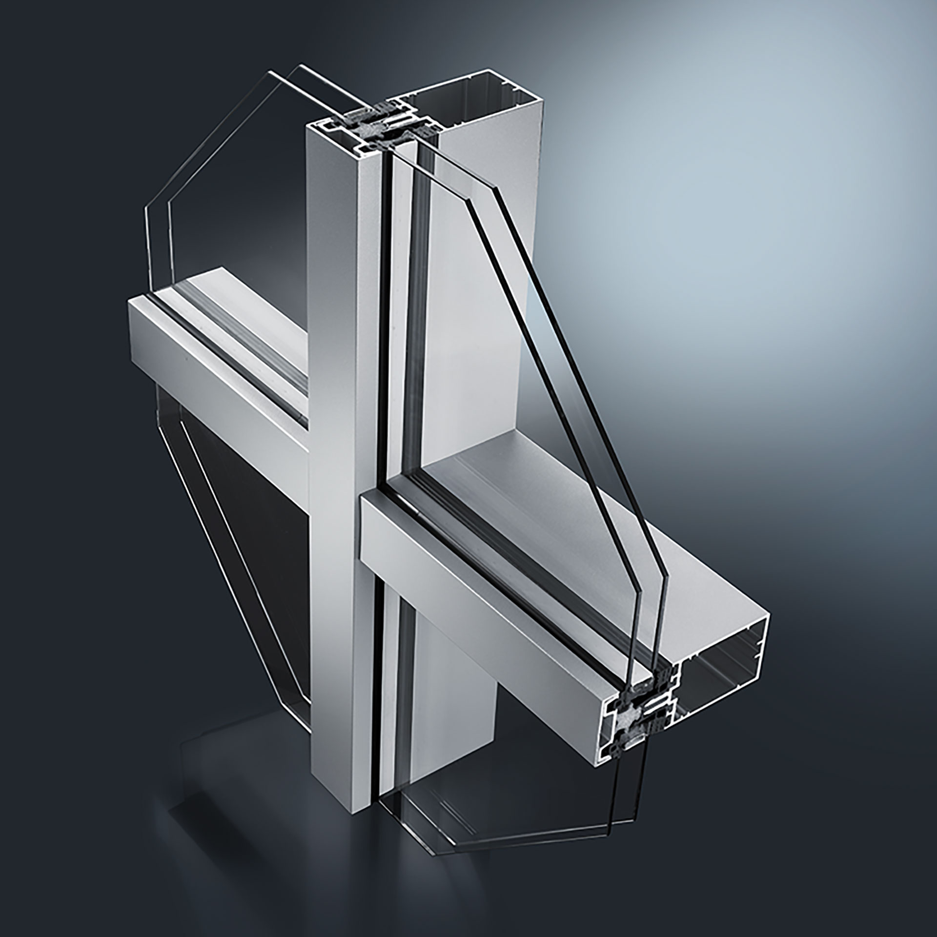 Thermal insulated aluminium curtain wall system F 50+ / F 60+. Suitable e.g. for vertical facades, pitched roof constructions, pyramids & winter gardens. Identical mullion & transom cross-sections of the façade system allow for efficient production.