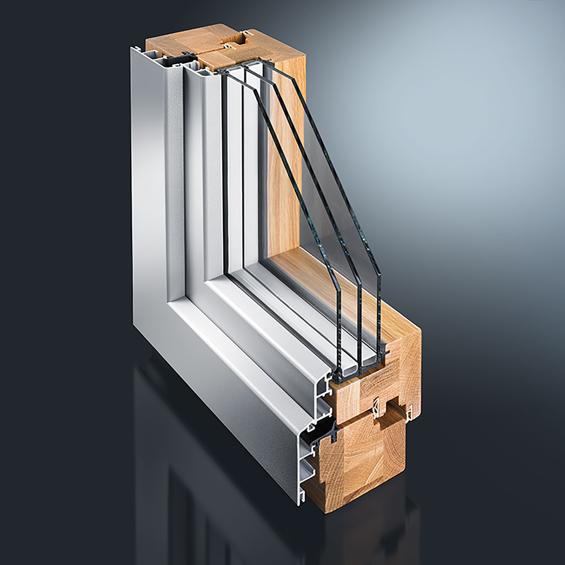 The GUTMANN MIRA wood-aluminium window system can be executed in double, single and pitched rebate construction.