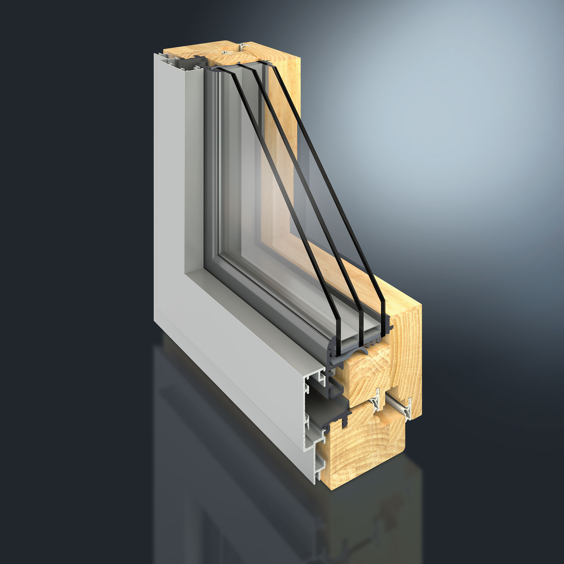 The reduced view width of 50 mm offers a whole new range of options in terms of technology and appearance. The GUTMANN MIRA contour integral 50 window system has slim frame facings with a half-concealed sash.